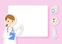 薬品を説明する女医さんのフレーム  10420000037| 写真素材・ストックフォト・画像・イラスト素材|アマナイメージズ