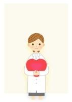 ハートを持つ女医さんのフレーム  10420000038| 写真素材・ストックフォト・画像・イラスト素材|アマナイメージズ