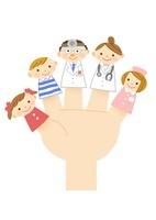 医師・女医・看護婦・子供たちの指人形 10420000050| 写真素材・ストックフォト・画像・イラスト素材|アマナイメージズ