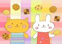 クッキーとネコとウサギ 10420000064| 写真素材・ストックフォト・画像・イラスト素材|アマナイメージズ