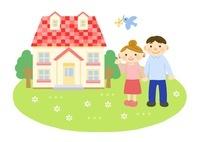 家と家族 (夫婦) 10420000071| 写真素材・ストックフォト・画像・イラスト素材|アマナイメージズ