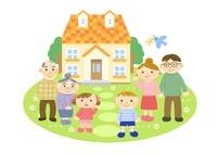 家と三世代家族 (夫婦と子供と祖父母) 10420000073| 写真素材・ストックフォト・画像・イラスト素材|アマナイメージズ
