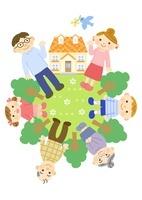 家と三世代家族 (夫婦と子供と祖父母) 10420000074| 写真素材・ストックフォト・画像・イラスト素材|アマナイメージズ