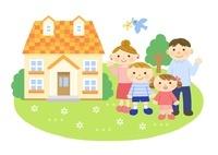 家と家族 (親子) 10420000078| 写真素材・ストックフォト・画像・イラスト素材|アマナイメージズ
