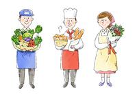 八百屋さん、パン屋さん、お花屋さん