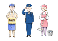 酒屋さん、警察官、清掃スタッフ