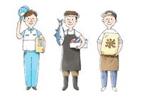 宅配便スタッフ、魚屋さん、お米屋さん 10420000100| 写真素材・ストックフォト・画像・イラスト素材|アマナイメージズ