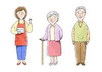 介護士さん、おばあさん、おじいさん 10420000102| 写真素材・ストックフォト・画像・イラスト素材|アマナイメージズ