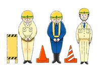 工事現場の作業員さん、注意看板、コーン