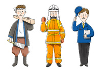 大工さん、消防士、調査員 10420000104| 写真素材・ストックフォト・画像・イラスト素材|アマナイメージズ