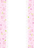 さくらの花柄、枠(ピンク)