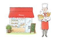 パン屋さんとパン職人 10420000116| 写真素材・ストックフォト・画像・イラスト素材|アマナイメージズ