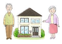 おじいさんとおばあさんと家 10420000117| 写真素材・ストックフォト・画像・イラスト素材|アマナイメージズ