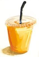 プラスチックのカップに入ったオレンジジュース