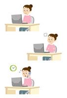 パソコン前で感情表現をする女性
