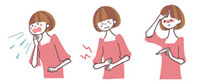 咳、腹痛、風邪の女性 10423000052| 写真素材・ストックフォト・画像・イラスト素材|アマナイメージズ