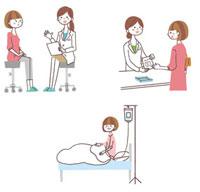 診察を受ける、薬を貰う、入院する女性