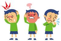 頭痛、発熱、鼻炎の男の子