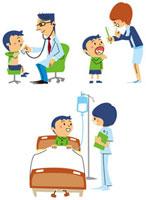 診察を受ける、歯磨き指導を受ける、ベッドで点滴する男の子