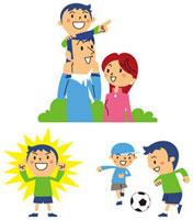 父母と散歩、ガッツポーズ、元気にサッカーする男の子