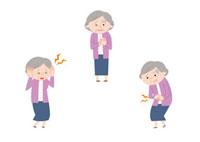 頭痛、心臓の痛み、腹痛を感じるおばあさん