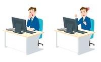 パソコン前で困る男性、怒る男性
