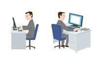 パソコンを操作する50代男性、横向き、斜め後ろ 10423000202| 写真素材・ストックフォト・画像・イラスト素材|アマナイメージズ