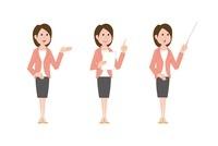 司会の女性、手のひらで指示す、資料を手に指差し、指示棒を持つ