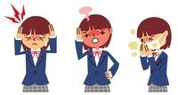頭痛、発熱、せきの女子高生 10423000211| 写真素材・ストックフォト・画像・イラスト素材|アマナイメージズ