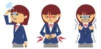 めまい、腹痛、悪寒の女子高生 10423000212| 写真素材・ストックフォト・画像・イラスト素材|アマナイメージズ