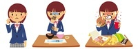 にきび、拒食症、過食症の女子高生