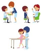 注射、診察、リハビリをする女子高生