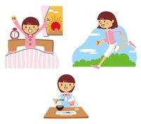 早起き、ランニング、朝食を食べる女子高生 10423000216| 写真素材・ストックフォト・画像・イラスト素材|アマナイメージズ