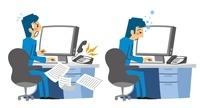 パソコン前で忙しく仕事する、パソコン前で眠るサラリーマン 10423000221| 写真素材・ストックフォト・画像・イラスト素材|アマナイメージズ