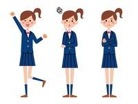 制服の女の子 表情3パターン