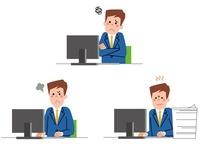 パソコン前で感情表現をするサラリーマン
