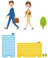 ビルと歩くサラリーマンとOL 10423000272| 写真素材・ストックフォト・画像・イラスト素材|アマナイメージズ