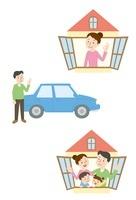 家と人、自動車と人、家族