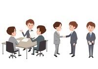 ビジネスシーン(打ち合わせ、握手、名刺)