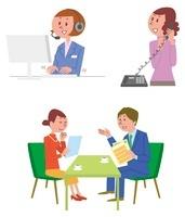 オペレーター女性、保険相談、電話している女性