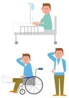 入院(ベッド、車いす、怪我)