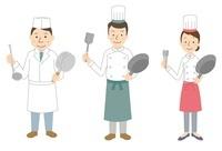 コック3パターン(日本料理、西洋料理男女)