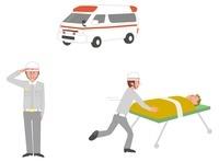 救急車、救急隊員敬礼、仕事シーン