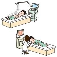 心電図検査をうける男性、胃カメラ検査をうける男性 10423000311| 写真素材・ストックフォト・画像・イラスト素材|アマナイメージズ