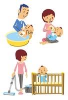 赤ちゃんの沐浴、授乳、部屋掃除