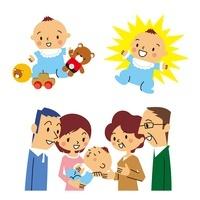 赤ちゃんが玩具で遊ぶ、赤ちゃんが元気、赤ちゃんと家族