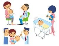 赤ちゃん(医師が診察、医師が診察、看護士)