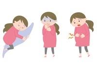 妊婦3パターン(横たわる・つわり・腹部の痛み) 10423000321| 写真素材・ストックフォト・画像・イラスト素材|アマナイメージズ