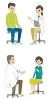診察を受ける女性と男性 10423000340  写真素材・ストックフォト・画像・イラスト素材 アマナイメージズ