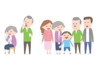 薬を飲む老夫婦・老夫婦と家族